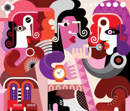 Three persons abstract vector illustration. Illustration