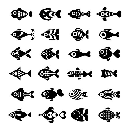 vector fish: Fish vector black and white icons.