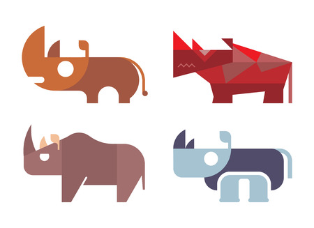 Rhino, rhinoceros - isolated vector icons on white background. Different variants. Can be used as logo.