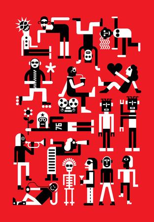 Dance party vector illustratie. Mensen in kostuums dansen, cocktails drinken en plezier op een feestje. Geïsoleerde beelden op rode achtergrond.