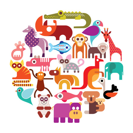 Zoo animals vector round illustration.