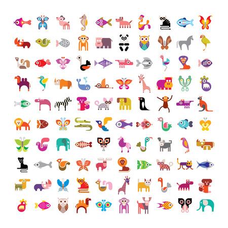動物、鳥、魚、蝶の大規模なベクター アイコン セット。白い背景の上の様々 な分離のカラフルなイメージ。  イラスト・ベクター素材