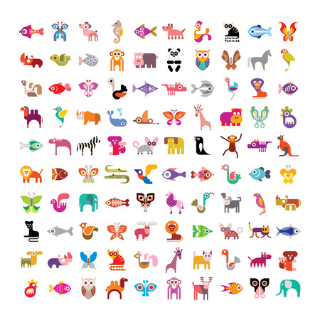 illustration zoo: Animals, birds, fishes and butterflies large vector icon set. Various isolated colorful images on white background.
