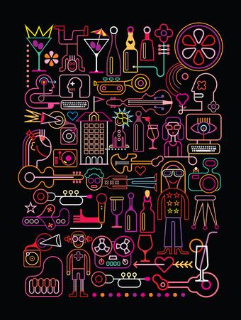 Disco Party vector illustratie. Neon kleuren silhouetten op een zwarte achtergrond. Stock Illustratie