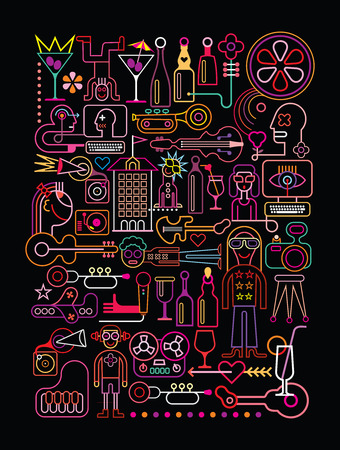 collage art: Disco Party vector illustration. Neon colors silhouettes on black background. Illustration
