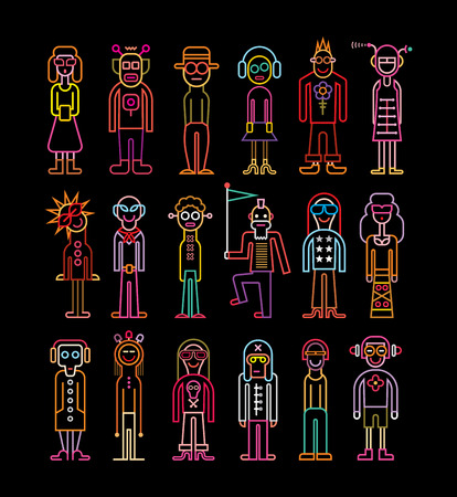Set of funny people vector icons on black background. Bright neon colors. Women and men wear fancy dresses.