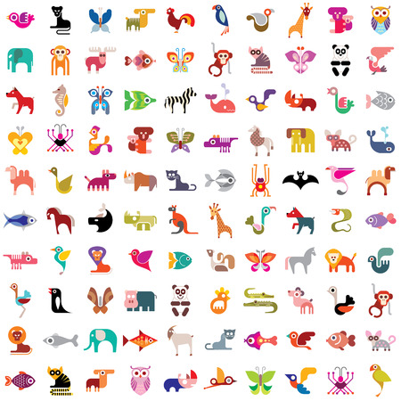 dog shark: Animals, birds, fishes and insects large icon set.