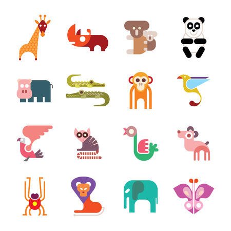 dingo: Zoo Animals. Set of colorful vector icons. Isolated on white background.
