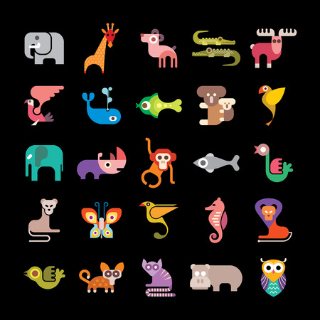 dingo: Jungle Animals. Set of colorful vector icons. Isolated on black background. Can be used as icon.