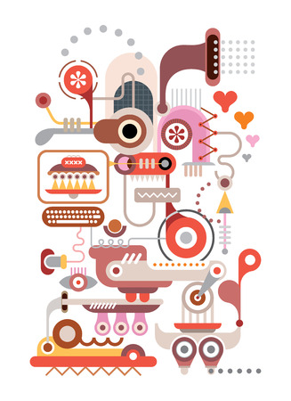 computer art: Abstract Machine - isolated vector composition on white background. Illustration
