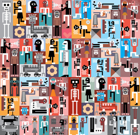 collage art: People and Robots. Vector graphic design. Composition of various pictures