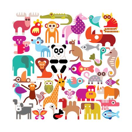 koala: Animales, aves y peces - forma cuadrada ilustración vectorial. Varios iconos de colores sobre fondo blanco.