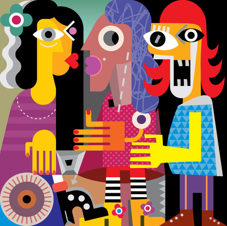 Abstract portrait of three women. Vector illustration.