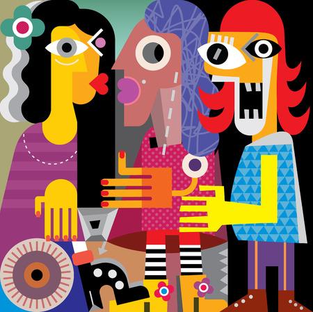 kin: Abstract portrait of three women. Vector illustration.