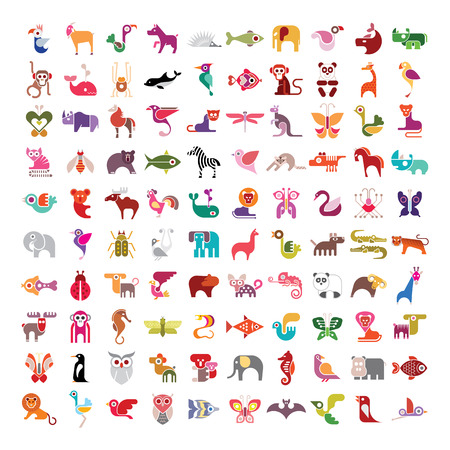 Hayvanlar, kuşlar, balıklar ve böcekler büyük vektör simge seti. Beyaz zemin üzerine çeşitli izole renkli görüntüler.