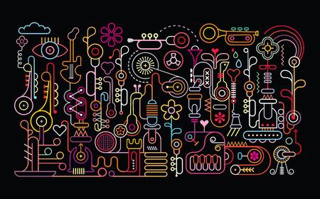 Music Shop abstract art vector illustration. Neon light silhouettes on black background. Illustration