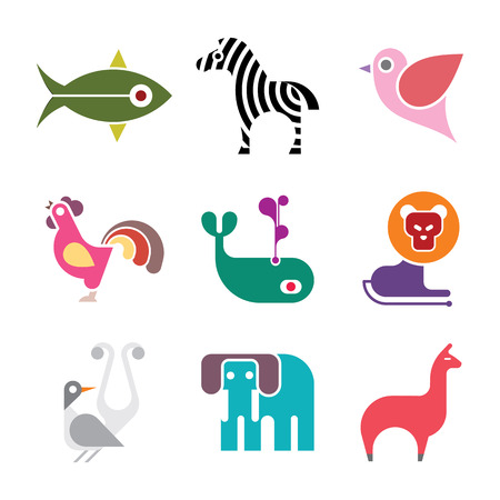 Animal icons. Set of isolated vector coorful images on white background. Can be used as logo.