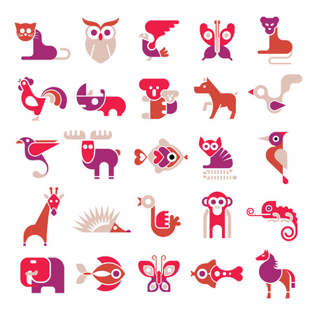 eagle owl: Animals, birds and fishes - large vector icon set. Various isolated colorful clip arts on white background.