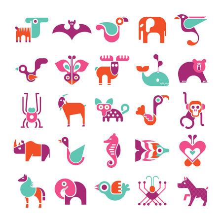 pajaritos: Animales, aves y peces - gran conjunto de iconos de vectores. Varios colores aislados artes en el fondo blanco clip.
