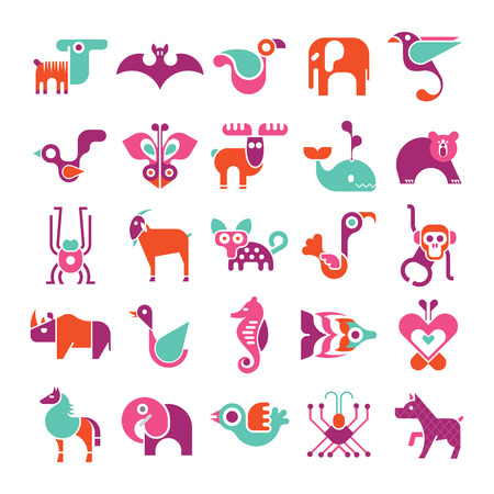 dingo: Animals, birds and fishes - large vector icon set. Various isolated colorful clip arts on white background.