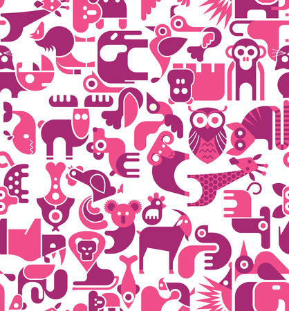 Animal vector seamless wallpaper.