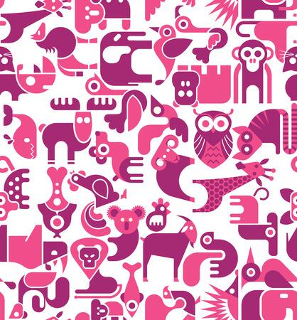 animaux zoo: Vecteur animal papier peint sans soudure.