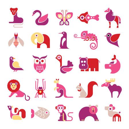 Vector animals: Động vật, chim và cá - lớn đặt biểu tượng vector. Nhiều cô lập clip art đầy màu sắc trên nền trắng.