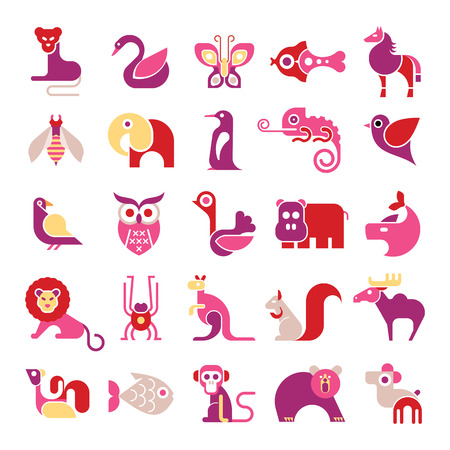 isolated squirrel: Animals, birds and fishes - large vector icon set. Various isolated colorful clip arts on white background.