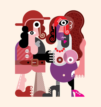donna nuda: Un uomo che balla con una donna incinta - moderna illustrazione grafica vettoriale.