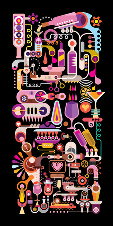 nightclub bar: Cocktail Machine vertical colorful vector illustration. Isolated on black background.