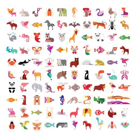 동물, 새, 물고기 및 곤충 큰 벡터 아이콘을 설정합니다. 흰색 배경에 다양 고립 된 다채로운 이미지.