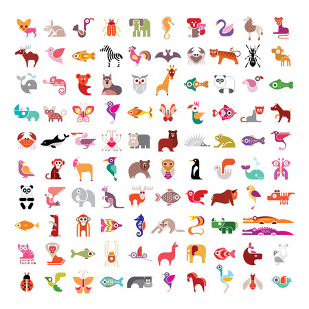 hedgehog: Animals, birds, fishes and insects large vector icon set. Various isolated colorful images on white background.