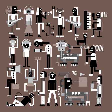 people having fun: Large group of people vector illustration. People in fancy dresses are dancing, playing musical instruments and having fun at a party. Isolated images on grey background. Illustration