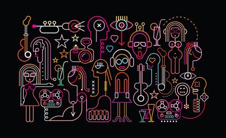 Muziek en Cocktail party vector illustratie. Neonlicht silhouetten op een zwarte achtergrond.