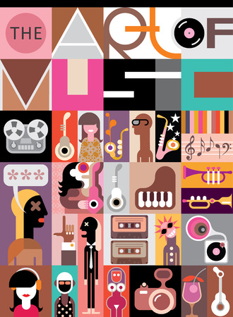 headphones woman: Concert poster design. Musical collage of various images - vector illustration with text The Art of Music. Illustration