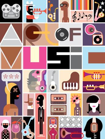 """musico: Collage musical de varias imágenes - colorida ilustración vectorial con el texto """"El arte de la música""""."""