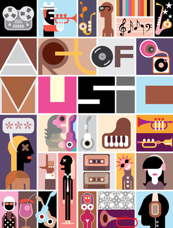 Musical collage of various images - colorful vector illustration with text Art of Music.