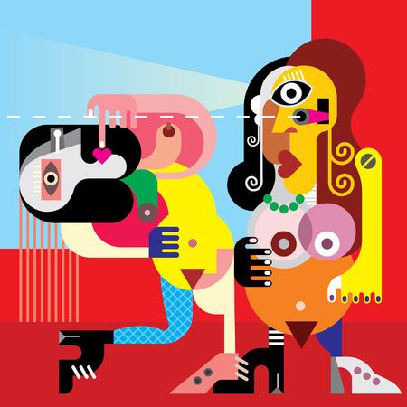 nude women: Two beautiful nude women dancing. Vector modern fine art illustration.