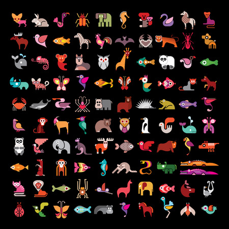 Animal large vector icon set. Various isolated colorful images on black background. Animal icon can be used as logo.