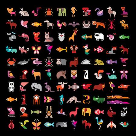 cisnes: Animal gran conjunto de iconos de vectores. Varias imágenes de colores aislados sobre fondo negro. Animal icono se puede utilizar como logotipo. Vectores
