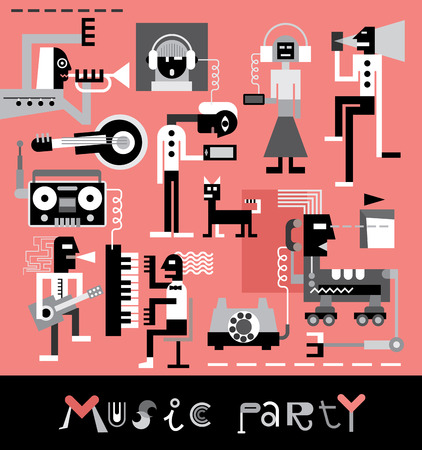 jazz band: Music Party illustration with text.