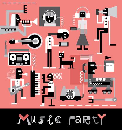 Partij van de muziek illustratie met tekst.