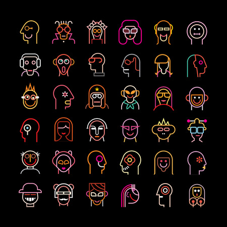 scaled: Set of various avatars. Neon color isolated vector icons on black background. Vector file can be scaled to any size without loss of resolution.