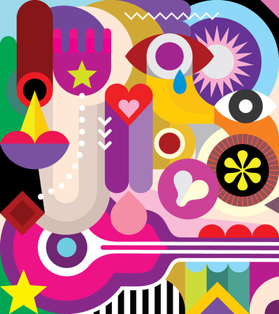 art contemporary: Vector abstract art composition with various colorful shapes and objects. Illustration