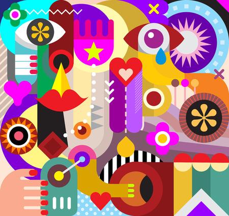 抽象芸術のベクトルの背景。さまざまなオブジェクトや図形の装飾的なコラージュ。