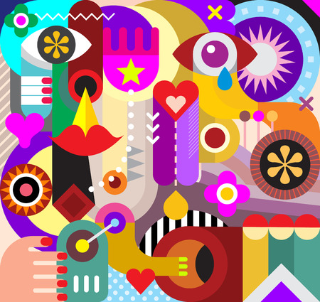 Sztuki abstrakcyjnej wektora tle. Dekoracyjny kolaż z różnych przedmiotów i kształtów.