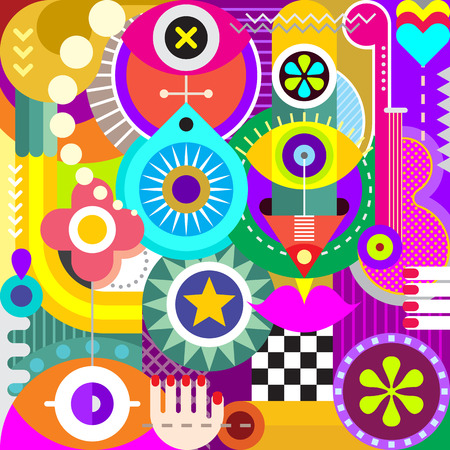 decorative objects: Abstract art vector illustration. Decorative collage of various objects and shapes.