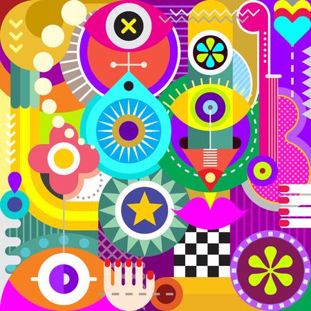 arte abstracto: Ilustración abstracta del arte del vector. Collage decorativo de diversos objetos y formas. Vectores