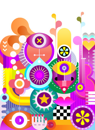 abstractions: Abstract art vector background. Decorative vibrant color collage of various objects and shapes.