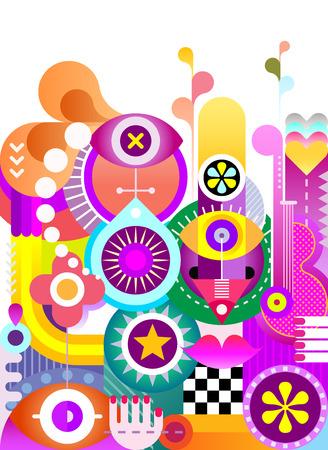absztrakt: Abstract art vektor háttérben. Dekoratív élénk színű kollázs különböző tárgyak és formák. Illusztráció